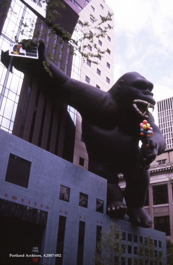 City of Portland Archives, Oregon, King Kong visits the Portland Building for an Oregon Lottery event, A2007-02, 1985.