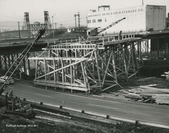 City of Portland (OR) Archives, Union Ave. temporary overpass construction, 2010-30, 1959.